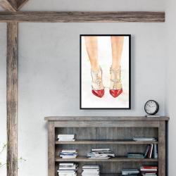 Framed 24 x 36 - Red studded high heels