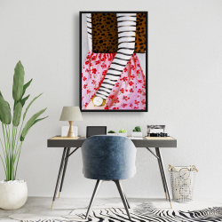 Framed 24 x 36 - Fashionable woman with a leopard bag