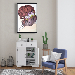 Framed 24 x 36 - Woman from behind with flowers