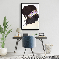 Framed 24 x 36 - Woman from behind with pink flowers