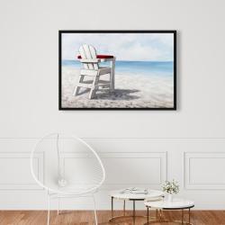 Framed 24 x 36 - White beach chair