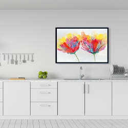 Framed 24 x 36 - Colorful flowers with a butterfly
