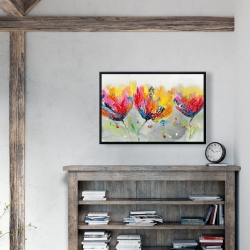 Framed 24 x 36 - Four colored flowers on gray background