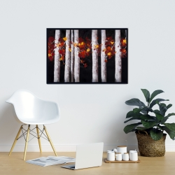 Framed 24 x 36 - White trees with orange leaves