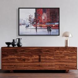 Framed 24 x 36 - Black and red street scene