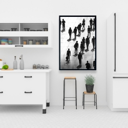 Framed 24 x 36 - Silhouettes of people on the street