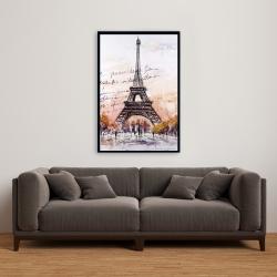 Framed 24 x 36 - Eiffel tower sketch with an handwritten message