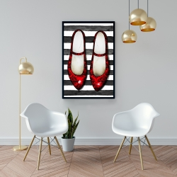 Framed 24 x 36 - Red glossy shoes on striped background