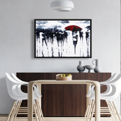 Framed 24 x 36 - Abstract silhouettes under the rain