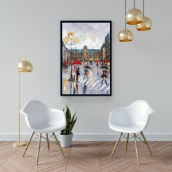 Framed 24 x 36 - People walking across the street by a rainy day