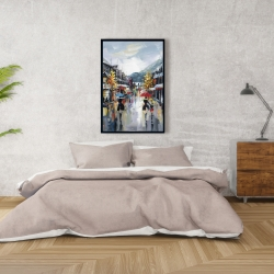 Framed 24 x 36 - Passersby in the street by rainy day of fall