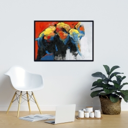 Framed 24 x 36 - Colorful abstract moving elephant