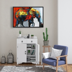 Framed 24 x 36 - Abstract and colorful elephant in motion