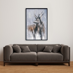 Framed 24 x 36 - Deer in the forest by a rainy day