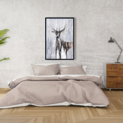 Framed 24 x 36 - Winter abstract deer