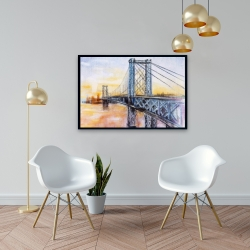 Framed 24 x 36 - Abstract brooklyn bridge