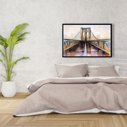 Framed 24 x 36 - Colorful brooklyn bridge