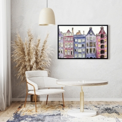 Framed 24 x 36 - Old historic houses amsterdam