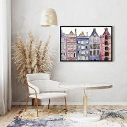 Framed 24 x 36 - Old historic houses amsterdam