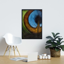Framed 24 x 36 - Peacock feather center
