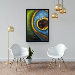 Framed 24 x 36 - Peacock feather closeup