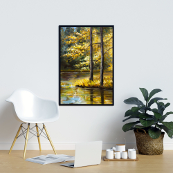 Framed 24 x 36 - Fall landscape by the water