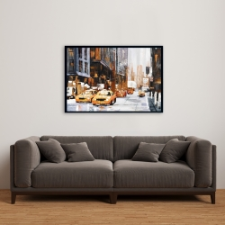 Framed 24 x 36 - Big city street with yellow taxi