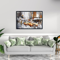Framed 24 x 36 - Abstract citystreet with yellow taxis