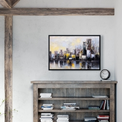 Framed 24 x 36 - Abstract city in the morning
