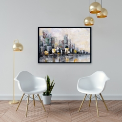 Framed 24 x 36 - Abstract cityscape in the morning
