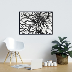 Framed 24 x 36 - Dahlia flower outline style