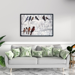 Framed 24 x 36 - Colorful birds on branches
