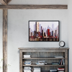 Framed 24 x 36 - Industrial city style