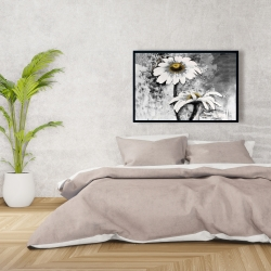 Framed 24 x 36 - Abstract daisies flowers