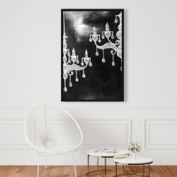 Framed 24 x 36 - White chandeliers