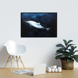 Framed 24 x 36 - Swimming dolphin