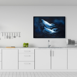 Framed 24 x 36 - Two swimming dolphins