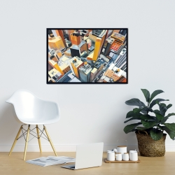 Framed 24 x 36 - High top view of buildings in new york
