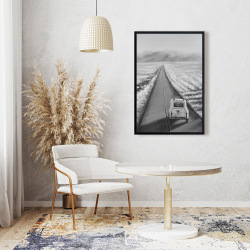 Framed 24 x 36 - Car on the road