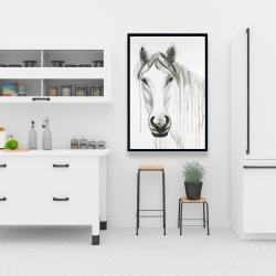 Framed 24 x 36 - Solitary white horse