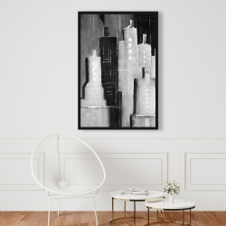 Framed 24 x 36 - Abstract black and white cityscape
