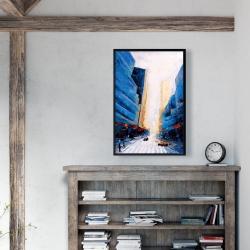 Framed 24 x 36 - Blue asymmetrical street