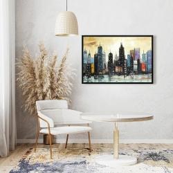 Framed 24 x 36 - Skyline on abstract cityscape