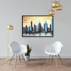 Framed 24 x 36 - Skyline on cityscape