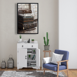 Framed 24 x 36 - Four old traveling suitcases