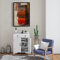 Framed 24 x 36 - Old traveling suitcases