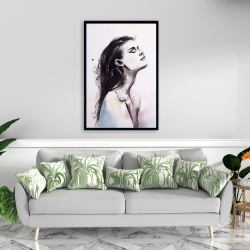 Framed 24 x 36 - Watercolor beautiful woman with dark hair