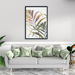 Framed 24 x 36 - Watercolor tropical palm leaves