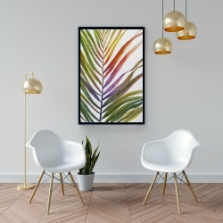 Framed 24 x 36 - Watercolor tropical palm leave