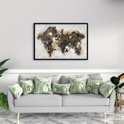 Framed 24 x 36 - Abstract world map with typography